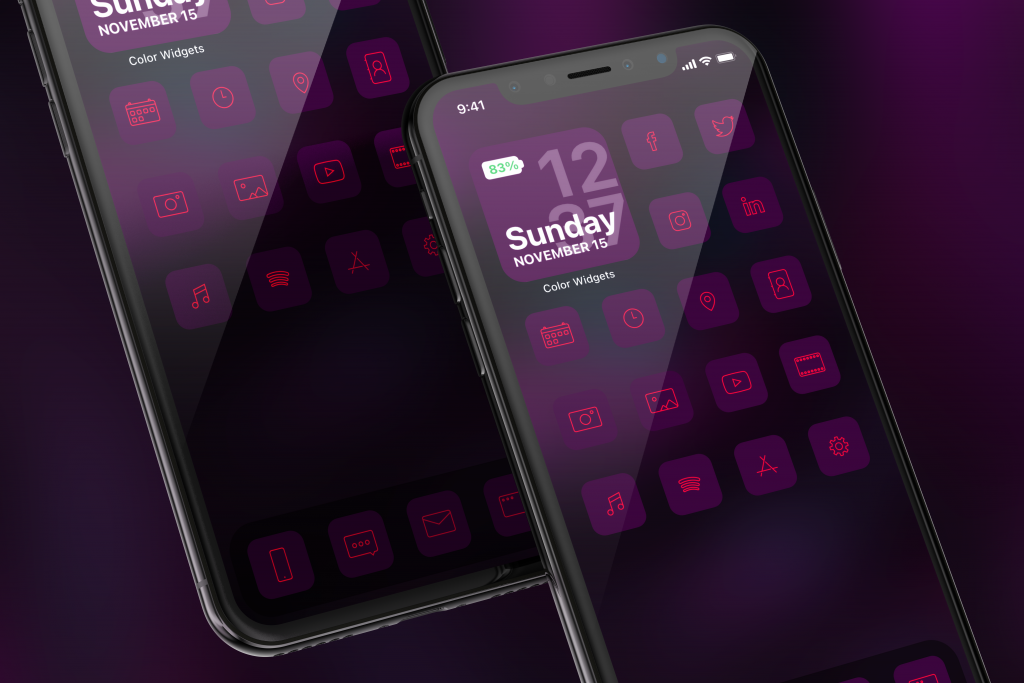 Calm iPhone icons in purple theme